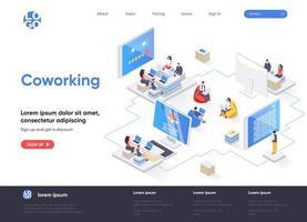 page de destination isométrique de l'espace de coworking