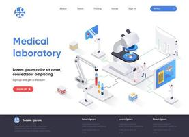 page de destination isométrique de laboratoire médical vecteur