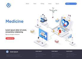 page de destination isométrique de médecine
