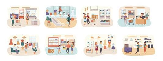 shopping bundle de scènes avec des personnages plats
