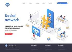 page de destination isométrique de réseau social