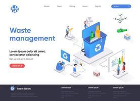 page de destination isométrique de la gestion des déchets