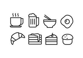 Icônes de nourriture et de boissons vecteur