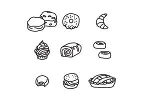 Aliments de boulangerie noir et blanc vecteur