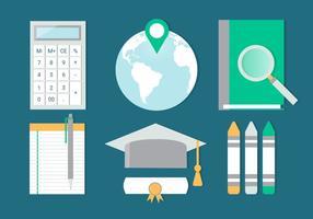 Free Flat Design Vector Retour aux éléments de l'école