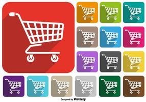 Ensemble de vecteur icône de panier de supermarché boutons colorés
