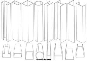 Ensemble vectoriel d'éléments de poutre en ligne mince