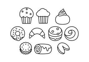 Vector d'icônes de lignes de boulangerie gratuite