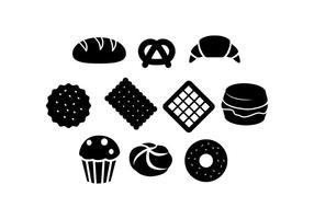Vecteur gratuit d'icônes de silhouettes de boulangerie
