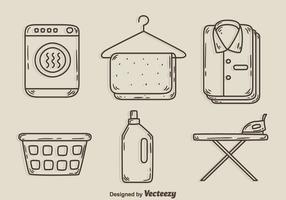 Croquis des vecteurs d'élément de lessive