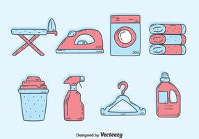 Vecteurs d'éléments de lessive dessinés à la main