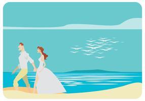 Jeune couple de mariage marchant sur le vecteur de plage