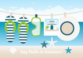 Carte de voeux de l'heure d'été de conception gratuite vecteur