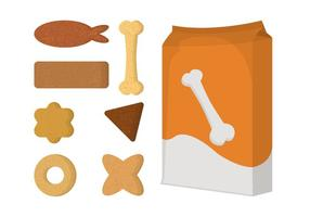 Pack d'objets vectoriels pour chien et biscuit vecteur