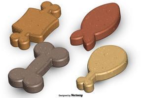Ensemble vectoriel de biscuits à chiens très détaillés