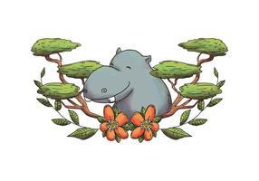 Aquarelle Hippopotamus Caractère Souriant Avec Feuilles Et Fleurs