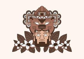 Ornements aztèques avec ours et feuilles vecteur