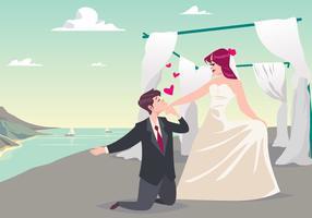 Couple de mariage sur le vecteur de plage