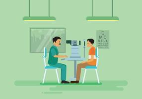 Ophtalmologue gratuit faisant un test d'oeil avec une illustration de machine