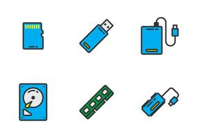 Electronic Drive Icon Vectors