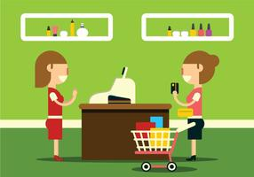 Illustrations d'achats dans le centre commercial