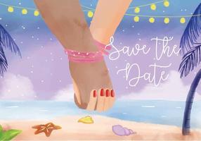 Mariage de plage-Holding Hand Invitation Aquarelle Vector
