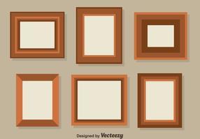 Vecteur de collection de cadre photo marron plat