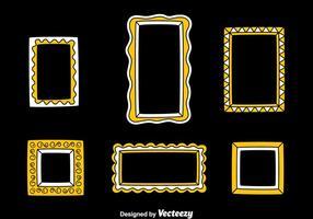 Cadre photo en vecteur de couleurs blanc et jaune