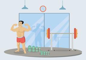 Homme, fléchissement, biceps, illustration vecteur