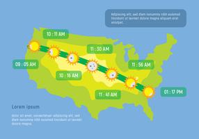 Les temps locaux pour le début de l'éclipse solaire vecteur