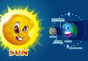 Vecteur de diagramme total de l'éclipse d'eclipse solaire