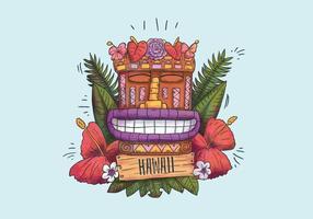 Totem hawaïen mignon souriant avec des fleurs exotiques et des feuilles et signe en bois vecteur