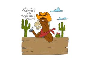 Funny Horse Cowboy Character With Cactus and Wood With Speech Bubble About Wild West