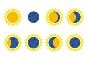 Vector d'icônes d'eclipse solaire