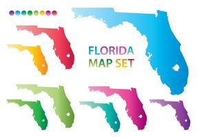 Vecteurs colorés de la carte de la Floride
