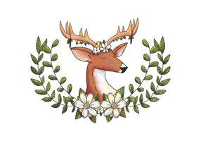 Aquarelle Deer Animal Forest With Flower Couronne Et Feuilles Et Fleurs Jaunes vecteur