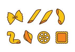 Icônes variées de pâtes vecteur