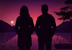 Hiver couple silhouette vecteur gratuit