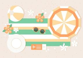 Fond d'été tropical plat gratuit vecteur