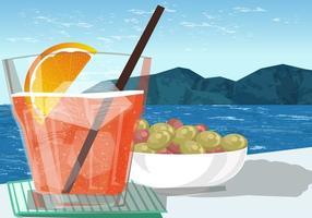 Drinking Spritz sur le vecteur de plage