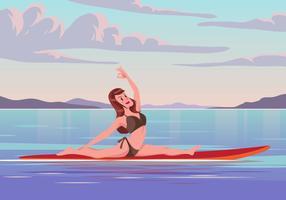 Femme pratiquant le yoga sur le vecteur Paddleboard