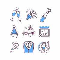 jeu d'icônes de fête du nouvel an vecteur