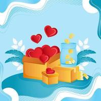 illustration de concept de don et de charité vecteur