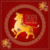 illustration du nouvel an chinois bœuf doré vecteur