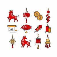 jeu d'icônes de nouvel an chinois vecteur