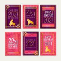 année de la collection de cartes de boeuf vecteur