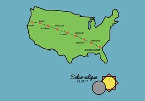 Carte de chemin d'eclipse solaire vecteur
