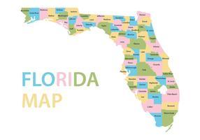 Vecteur de carte colorée de la Floride