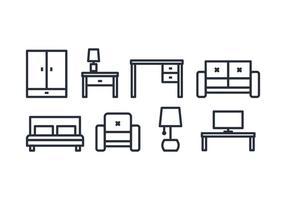 Icônes de meubles vecteur