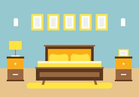 Conception d'intérieur de chambre à coucher vecteur